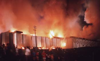 5/16/97 KY beverly hills fire overall - Overall shot of Beverly Hills in flmes the night of May 28, 1977. David Kohl photo