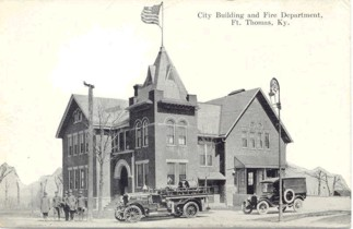 Pictured above is the old Fort Thomas City Building where the first Fire Department was established. This building was torn down in 1967 to build the building that exists now.